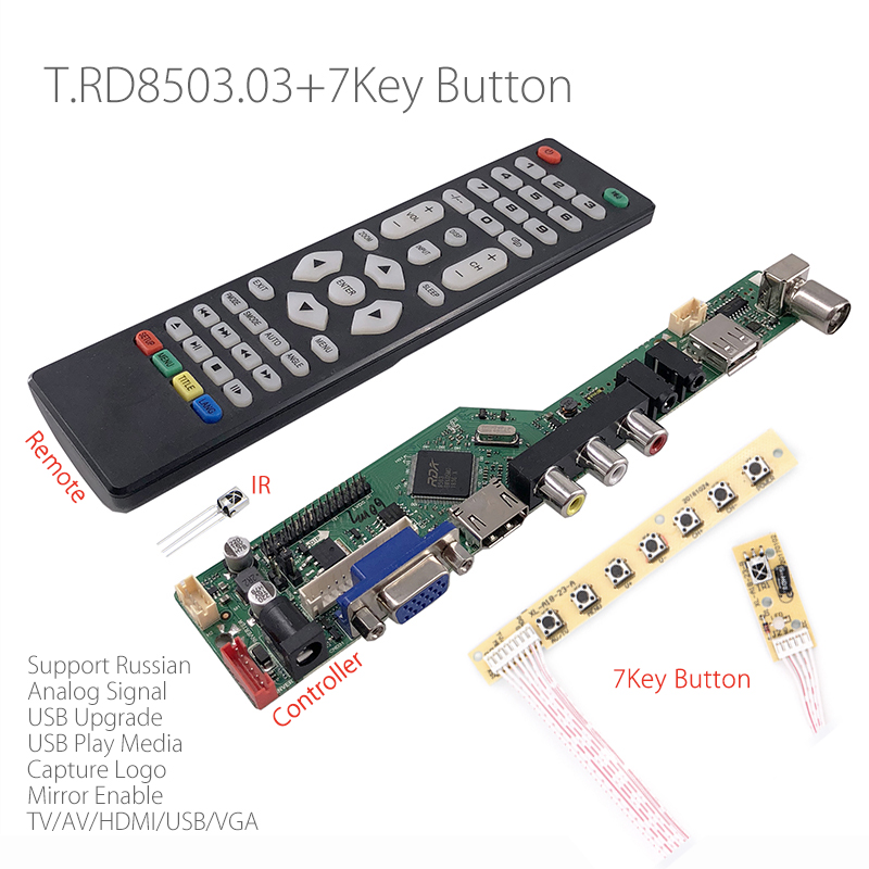 US $15 09 5% OFF|T RD8503 03 Universal LCD LED TV Controller Driver Board  TV/PC/VGA/HDMI/USB+IR+7 Key button Switch Russian Replace v56 SKR 03-in