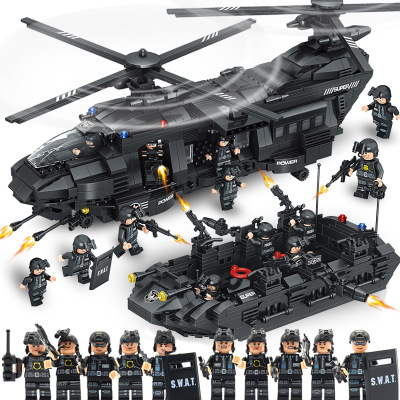 SWAT 1351PCS Building Blocks bricks SWAT Team Transport Helicopter compatible legoes Military City Police Children Kid Gift Toys military city police swat team army soldiers with weapons ww2 building blocks toys for children gift