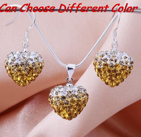 men mixed red multicolor  Beads Gradient Heart   set drop earrings Necklace Pendant Snake Chains free shipping crystal