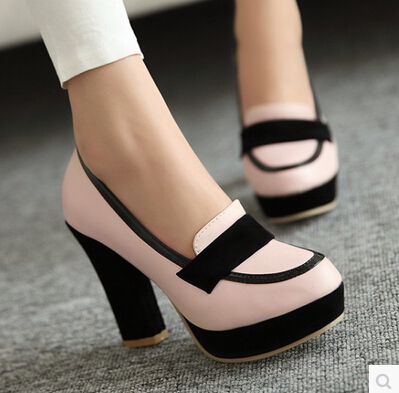 15 Spring European and American high with thick soles waterproof thick with hit color OL ladies' shoes shallow mouth big yards