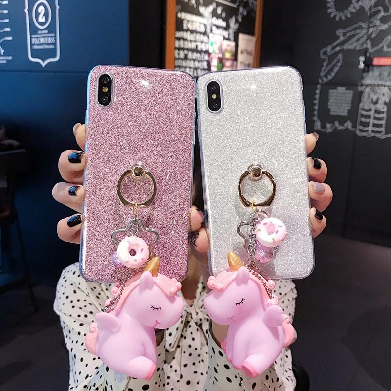 glitter unicorn silicone phone case