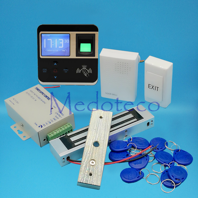 Full Biometric Fingerprint Door Access Control System Kit EM Rfid Card Access Controller 350lbs Magnetic Lock