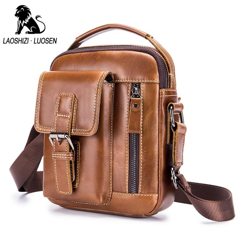 LAOSHIZI LUOSEN New Design Men Shoulder Bags Genuine Leather Small Handbag  Vintage Casual Men Messenger Bags 5aba63a053ded