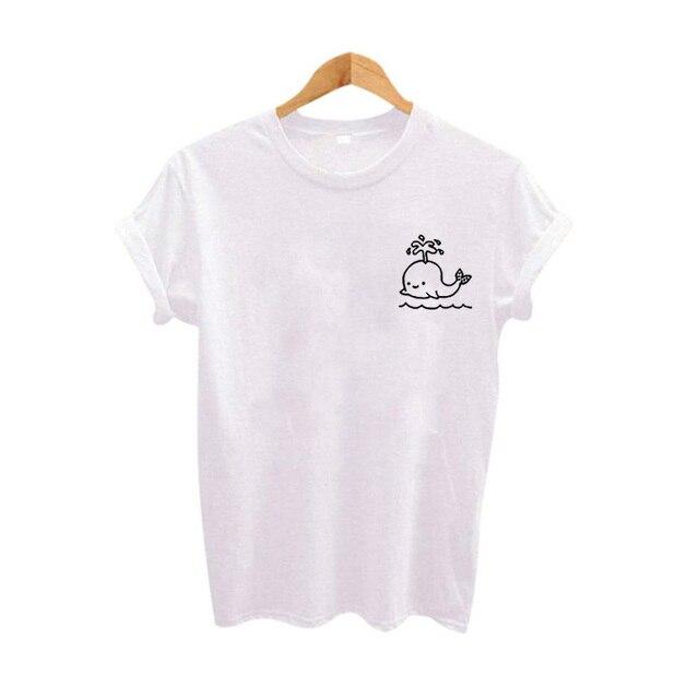 49b605c0ef6f Cute Little whale Graphic Tee Women Tops Summer tshirt 2018 Fashion Slogan  Women T shirt 90s girl trend Tumblr grunge Clothing