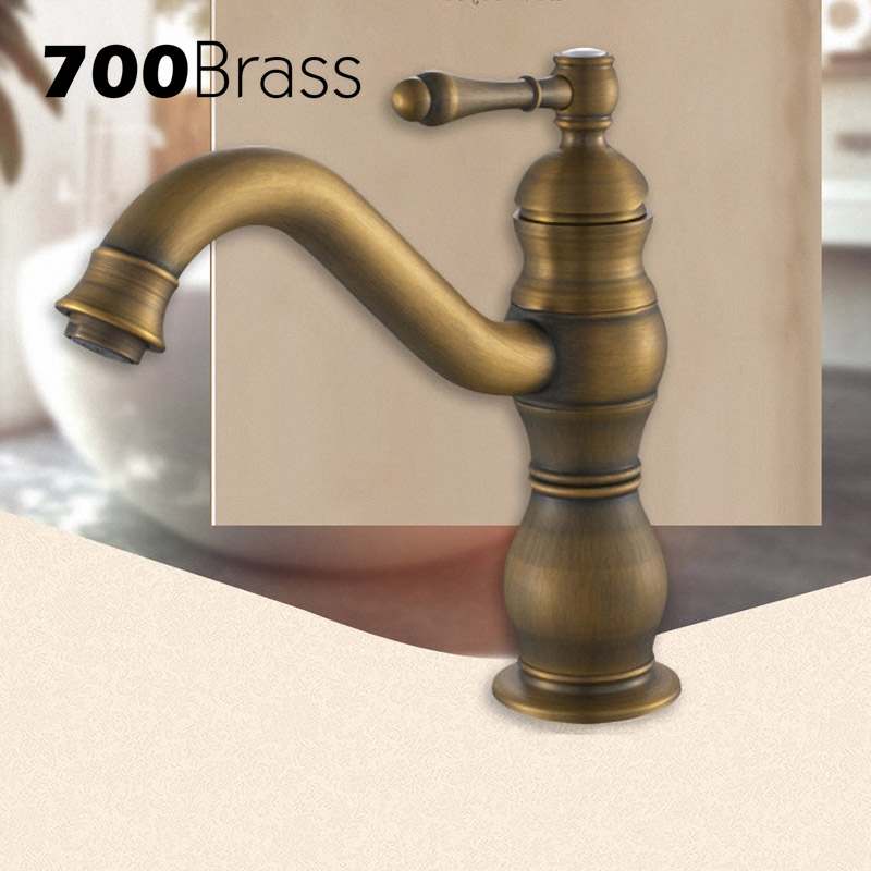 European Style Antique Brass Bathroom Faucet Single Hole Single Holder Tap Torneira Deck Mounted Basin Faucet