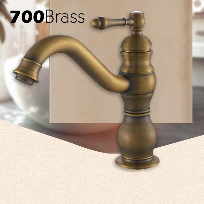 European Style Antique Brass Bathroom Faucet Single Hole Single Holder Tap Torneira Deck Mounted Basin Faucet