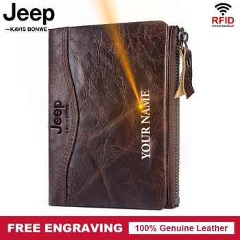 Free Engraving 100% Genuine Leather Wallet Men Coin Purse Male Vintage Small Card Holder for Clamp for Money bag Zipper Soft - DISCOUNT ITEM  43% OFF All Category