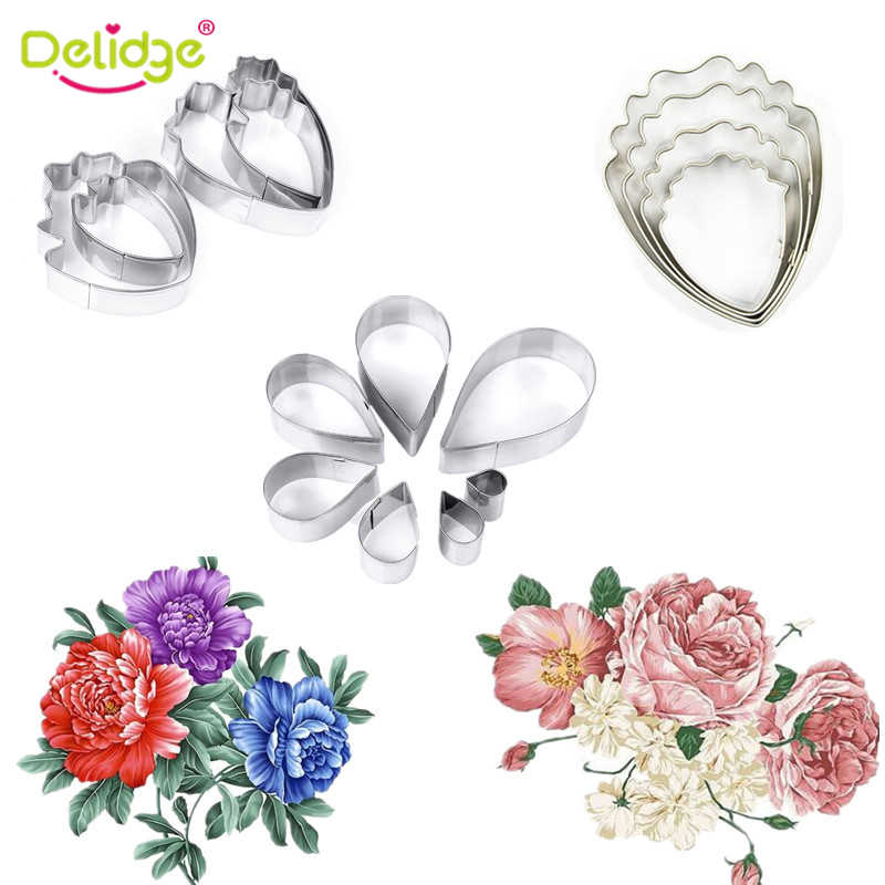 Delidge 4-6 pcs/lot 3D Beautiful Flower Cake Mold  Stainless Steel Peony Flower Teardrop-Shaped Cookie Fondant Cake Decoration