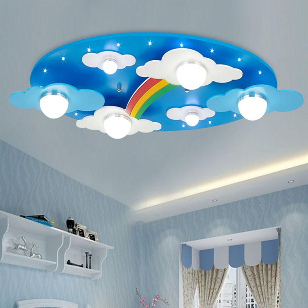 Us 135 0 Wood Rainbow Moon Light Led Children Ceiling Lights 110v 220v Home Decor Acrylic Shade Flush Mount Fixture In