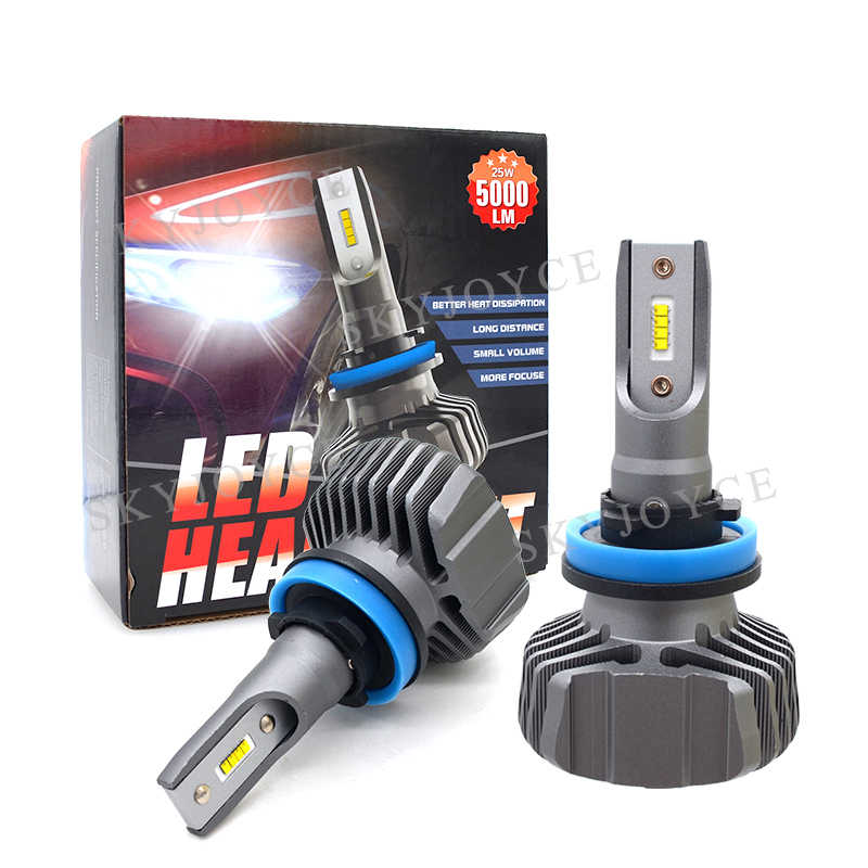 12V 24V Auto Headlight Bulb H4 H7 H11 9005 9006 50W 10000LM ZES LED Chips Mini Size Waterproof 6500K H7 H11 LED Headlight Kit