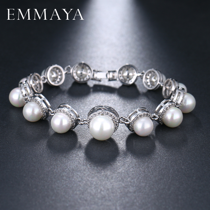 EMMAYA New Simulated Pearl Bracelet with Cz Beads Paved Women Bracelet Fashion Silver Color Wedding Jewelry