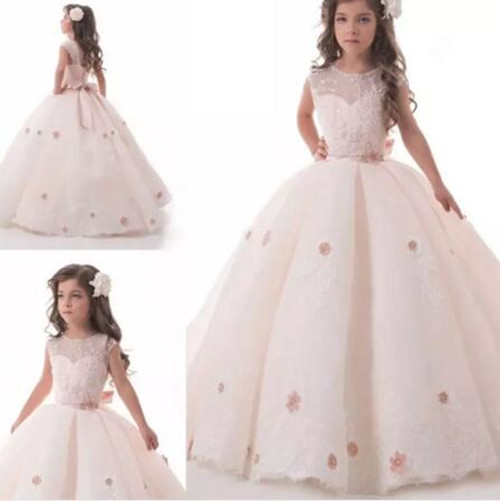 New Blush Pink Flower Girl Dresses for Weddings Lace Applique Girls Ball Gown Ankle Length First Communion Dress Custom fancy pink little girls dress long flower girl dress kids ball gown with sash first communion dresses for girls