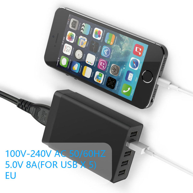 2016 Remarkable EU Plug 40W 5V 8A Portable 5 Ports USB Charger For iPhone6/6s 6/6s Plus iPad Smart Phone