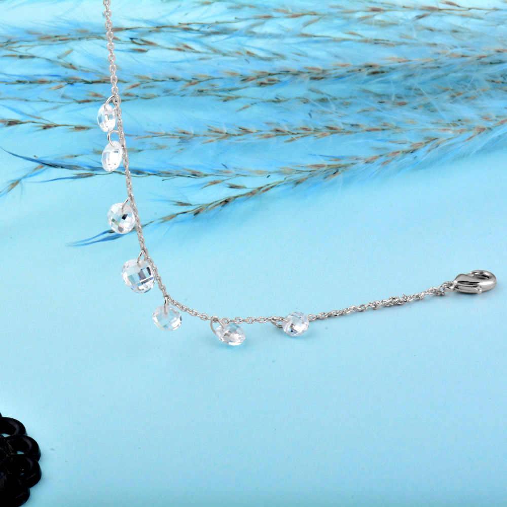 SINLEERY wykwintne mały okrągły kryształ wisiorek bransoletki łańcuch różowe złoto/srebrny kolor pani ślub biżuteria Pulseras Sl301 sztab i prętów ze stali nierdzewnej