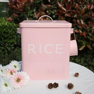 Image 1 - Boîte de rangement pour cuisine salle de bain, conteneur de riz, Grain 10l revêtement métal Zinc boîtes de rangement de poudre à pain avec cuillère