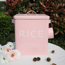 Kitchen Bathroom Storage Box 10L Grain Rice Container Coating Metal Zinc Laundry Powder Boxes Storage Bin Bread Tin with Scoop