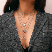 Fashionable Personality Street Beat Necklace with Alloy Cross Letter and Multi-layer Necklace