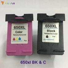2PC For HP650 650xl  Ink Cartridge  For HP 950 Deskjet 1015 1515 2515 2545 2645 3515 4645 Printer