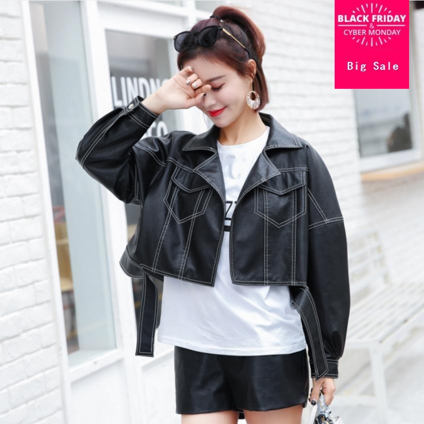Fashion brand white line stitching pu   leather   jacket female street style was thin short   leather   jacket wq472 dropship