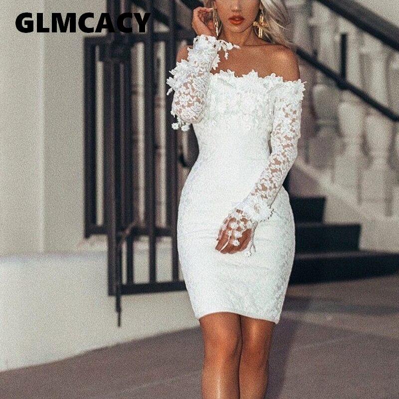 e5d39e6d7c1c9 Women White Lace Bodycon Dress Ladies Off Shoulder Long Sleeve Sexy Dress  Elegant Autumn Party Vintage