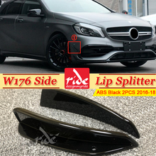 Fits For Mercedes-Benz W176 ABS black Front Bumper Side Lip Splitter A-Class A180 A200 A250 A45 2-pcs Side Lip Splitter 2016-18 цена