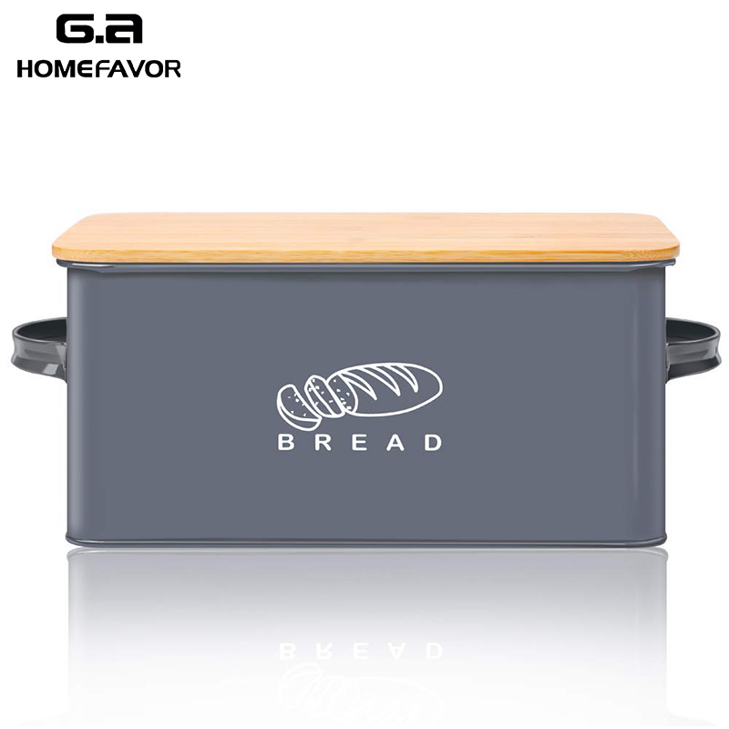 Bread Box With Bamboo Cutting Board Lid Storage Box Metal Galvanized Bread Bin Handles Snack Box Kitchen Containers Home Decor(China)