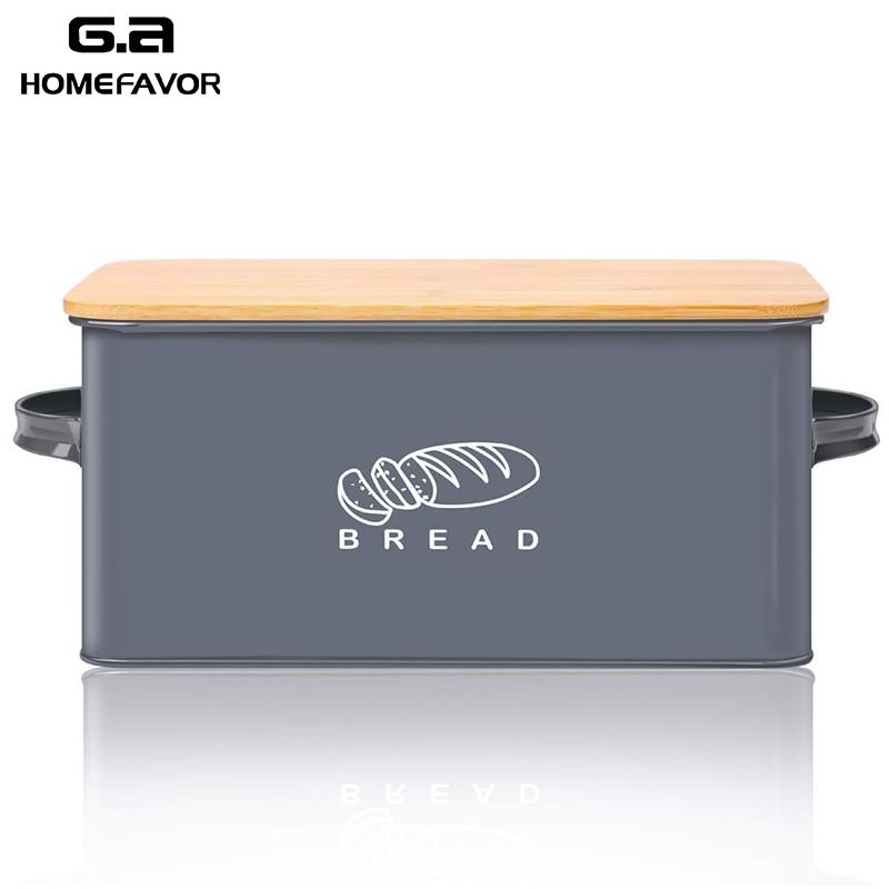 Bread Box With Bamboo Cutting Board Lid Storage Box Metal Galvanized Bread Bin Handles Snack Box Kitchen Containers Home Decor
