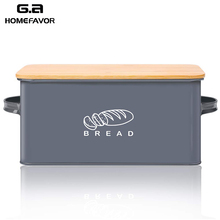 Bread Box With Bamboo Cutting Board Lid Storage Box Metal Galvanized Bread Bin Handles Snack Box Kitchen Containers Home Decor storage box bamboo bread box bins with cutting board double layers food containers big drawer kitchen organizer home accessories