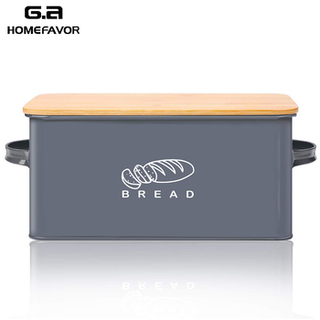 Bread Box With Bamboo Cutting Board Lid Storage Metal Galvanized Bin Handles Snack Kitchen Containers Home Decor