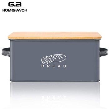 Brot Box Mit Bambus Schneiden Bord Deckel Lagerung Box Metall Verzinkt Brot Bin Griffe Snack Box Küche Container Home Decor