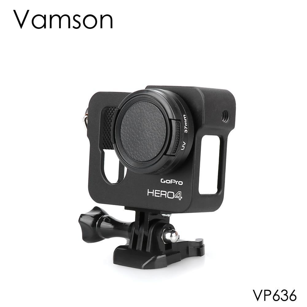 Vamson for Gopro Accessories Aluminum Metal Protective Housing Case CNC Frame   Lens Cap Cover Filter for Gopro Hero 4 VP636
