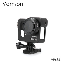 Vamson for Gopro Accessories Aluminum Metal Protective Housing Case CNC Frame + Lens Cap Cover Filter for Gopro Hero 4 VP636