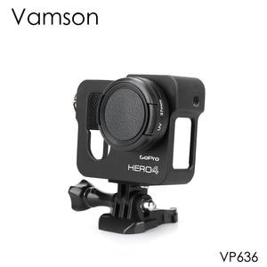Image 1 - Vamson for Gopro Accessories Aluminum Metal Protective Housing Case CNC Frame + Lens Cap Cover Filter for Gopro Hero 4 VP636