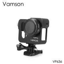 Vamson voor Gopro Accessoires Aluminium Metalen Beschermende Behuizing Case CNC Frame + Lens Cap Cover Filter voor Gopro Hero 4 VP636