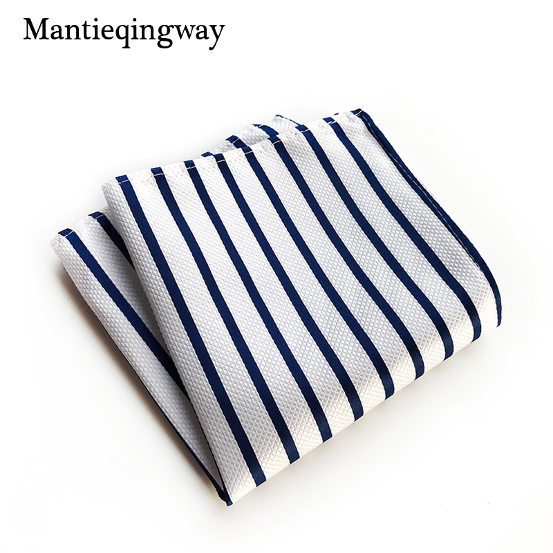 Mantieqingway Striped Printed Handkerchief Pocket Square For Mens Wedding Tuxedo Striped Hankies Polyester Classic Chest Towel