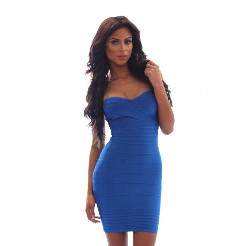 strapless jurk blauw
