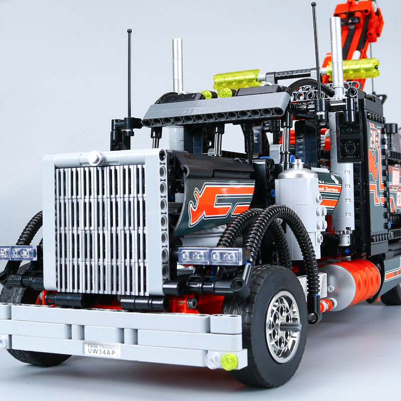 WAZ Compatible Legoe Technic 8285 Lepin 20020 1877pcs American Style Heavy Container Trucks building blocks toys for children decool 3345 technic city series mini container truck 119pcs building block educational toys for children compatible legoe