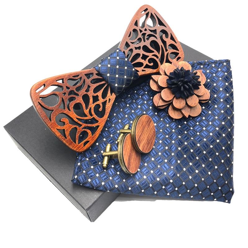 New 2018 3D Wooden Tie Pocekt Square Cufflinks Fashion Wood Bow Tie Wedding Pocket Square Wooden Brooch Cufflinks Set With Box