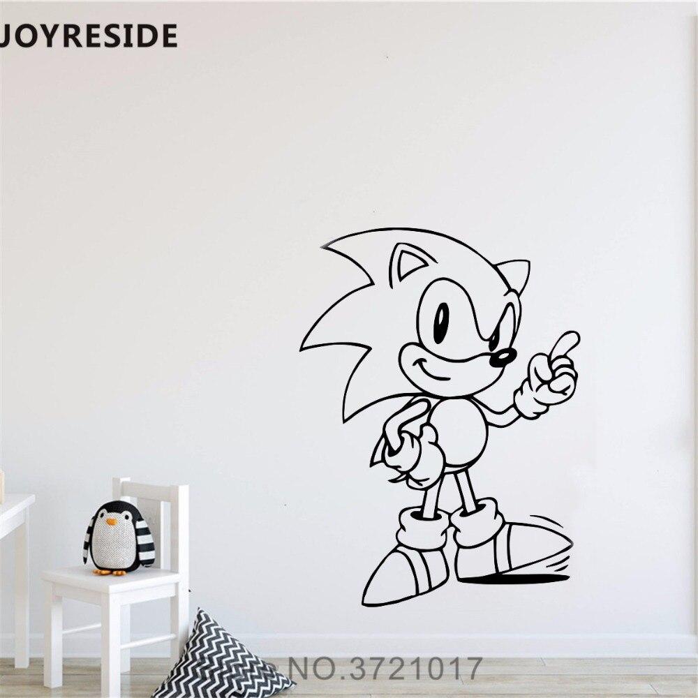 JOYRESIDE Game Character Wall Decal Cartoon Sonic Wall Sticker Cute Vinyl Decor Home Kids Bedroom Decor Interior Design A868