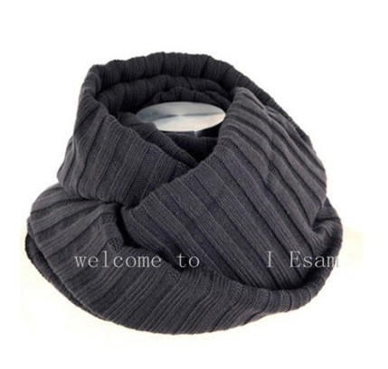 Image 5 - Thick Warm Lic Scarves for Men Black Knitted Men's Winter Scarf Male Gray Ring Carves Winter Knitted Infinity Man Scarf Collar-in Men's Scarves from Apparel Accessories