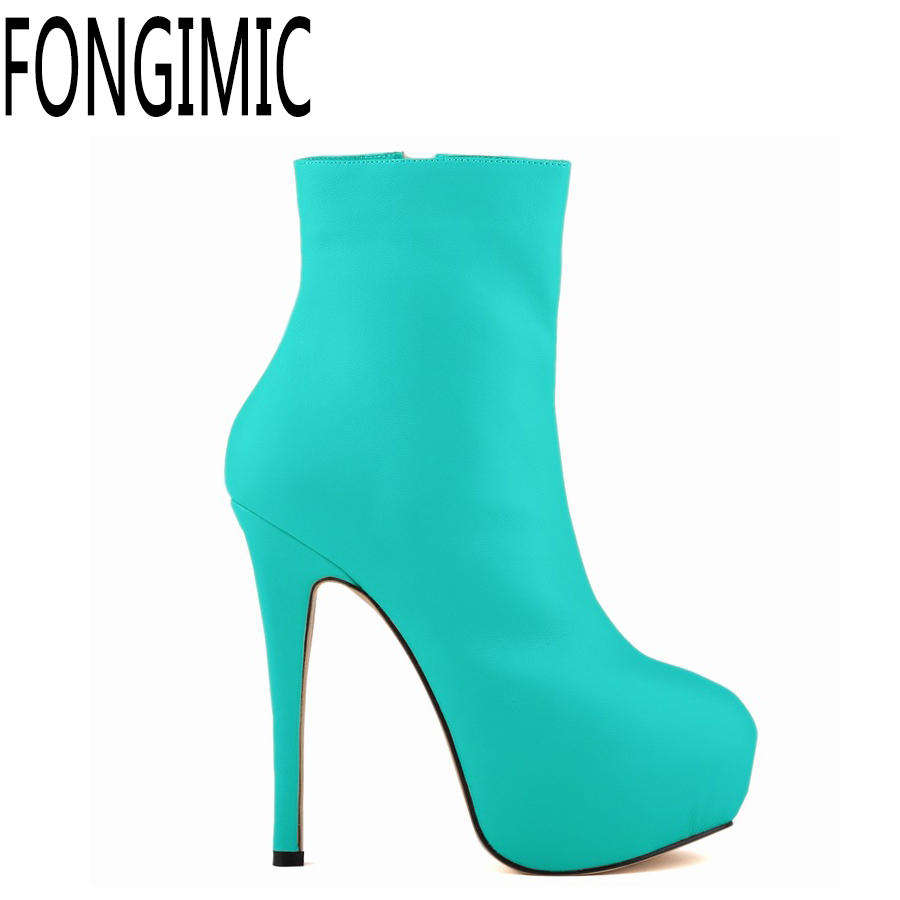 women spring autumn super high heels ladies round toe thin heel ankle-length Colorful shoes All Match Style Patent Leather Boots hot sale autumn winter shoes round toe fashion ankle women boots sheepskin all match square high heel