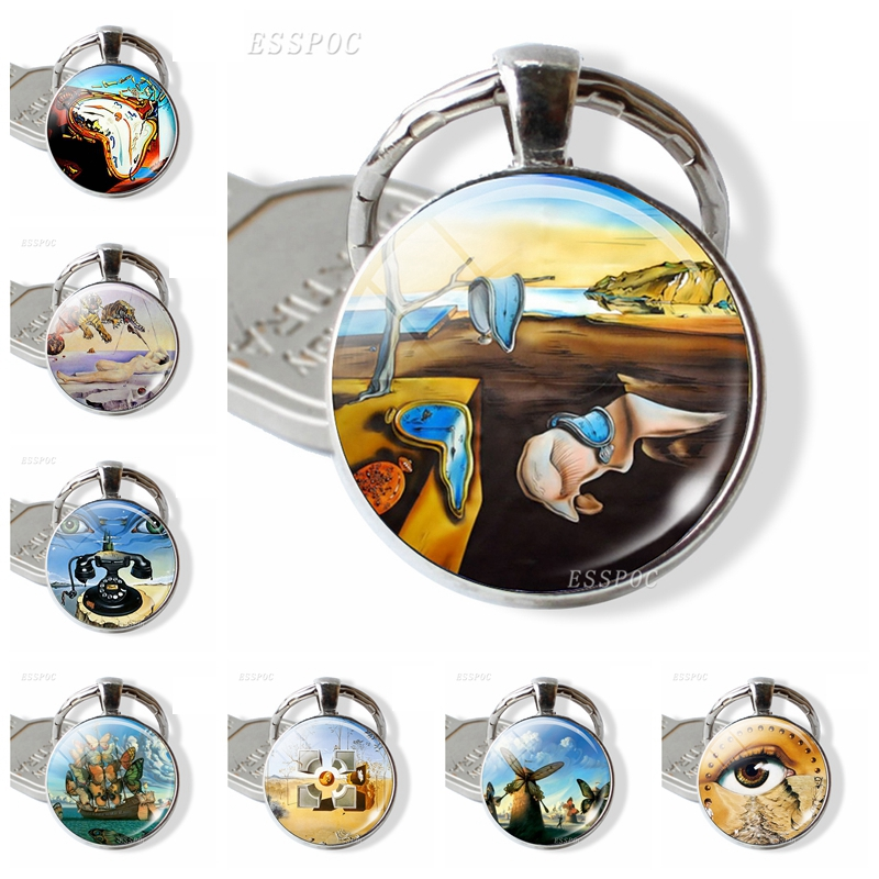 The Persistence Of Memory Picture Keychain Art Jewelry Salvador Dali Painting Time Gem Metal Keyring Valentines Day Gifts