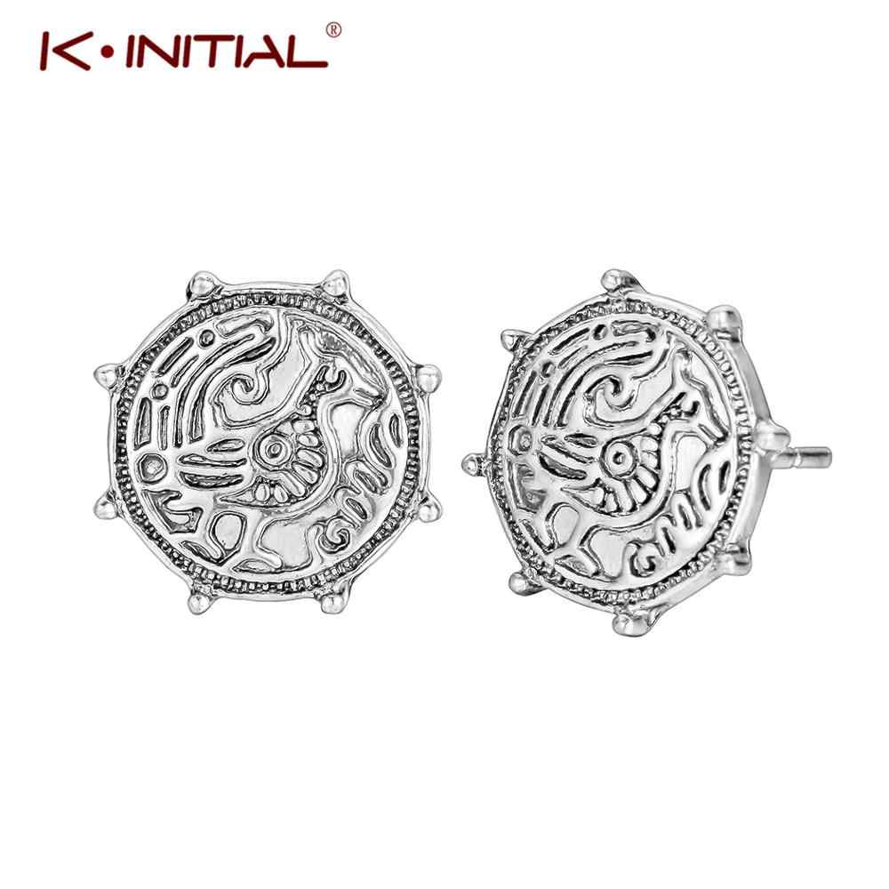 Kinitial New Arrival Punk Viking Earrings Geometric Round Animal Bird Raven Stud  Earrings in Copper for Women Charm Jewelry