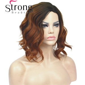Image 5 - StrongBeauty Short Black/Brown Ombre Bob, Side Part, No Bangs Full Synthetic Wig COLOUR CHOICES