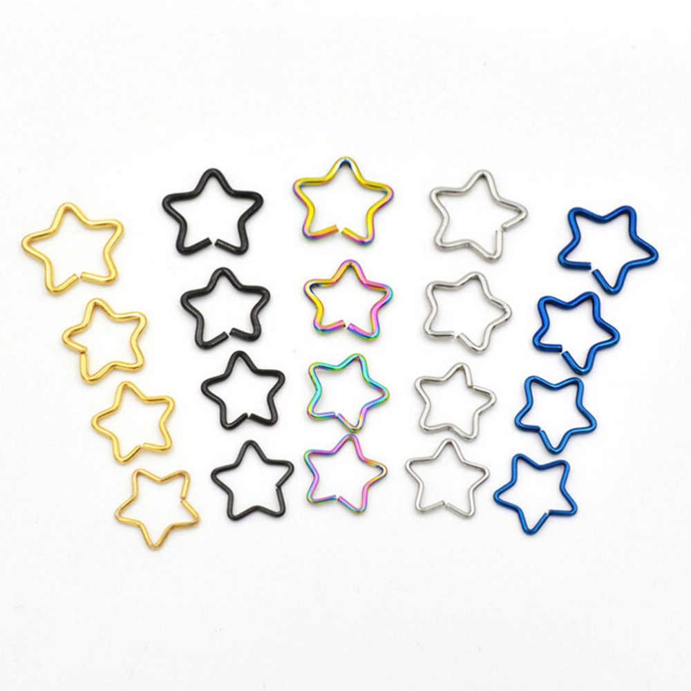 5 สี 2017 ใหม่แฟชั่น Punk EAR Cuff Wrap FIVE Pointed Star คลิปบนต่างหูไม่เจาะ