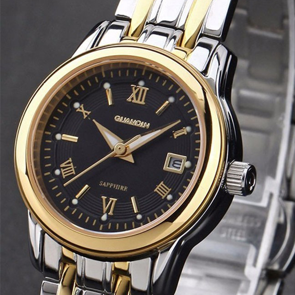 ФОТО GuanQin Famous Brand Luxury Charm Women Relojes Life Waterproof Complete Calendar Watches Full Stainless Steel Watch Wristwatch