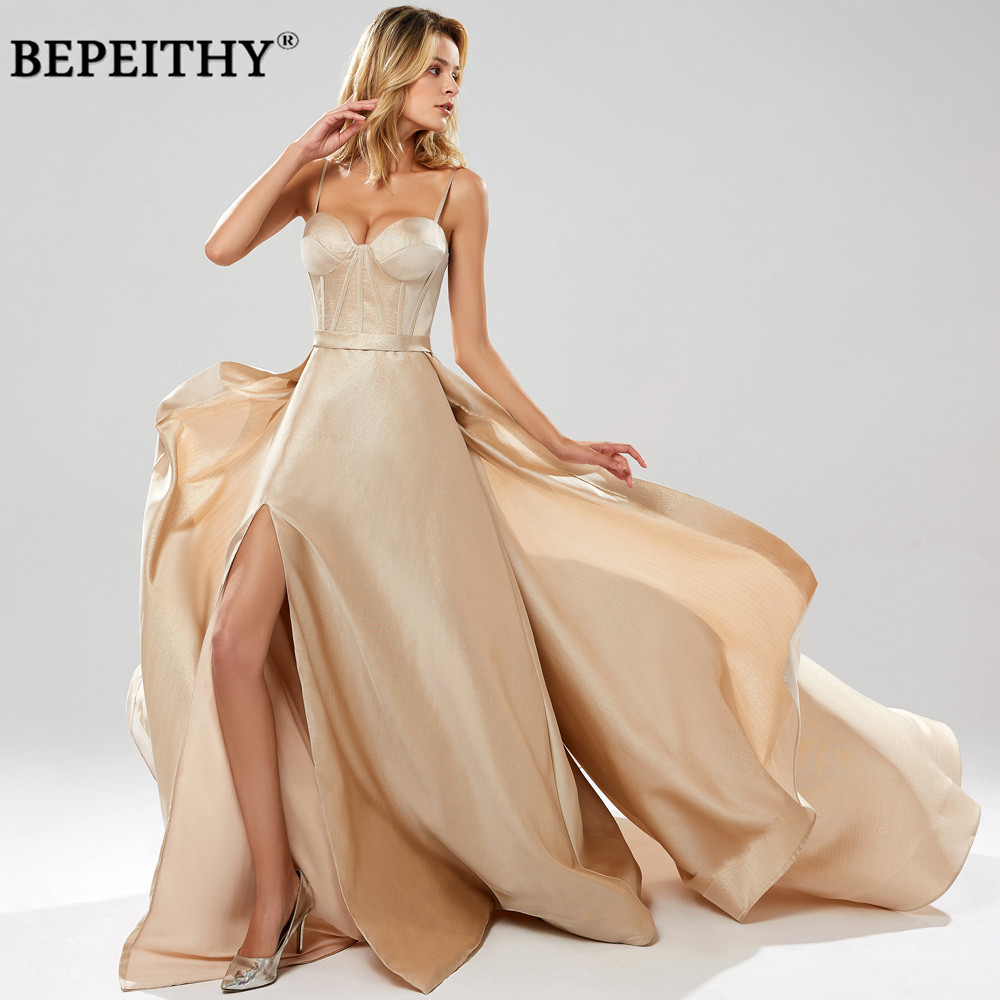 BEPEITHY Robe De Soiree Spaghetti Straps Glitter Evening Dresses With Flowing High Slit Sexy Prom Party
