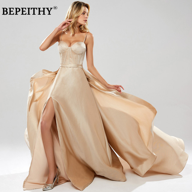 BEPEITHY Abendkleider グリッター A ラインロングイブニングドレスパーティーエレガント 2019 ローブ · ド · 夜会スパゲッティストラップウエディングドレス
