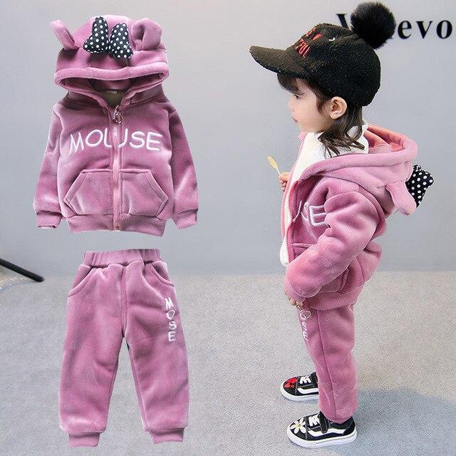 Элегантный теплый удобный зимний плюшевый детский комплект одежды высокого качества с изображением панды и цветов для девочек, модный осенний костюм для мальчиков