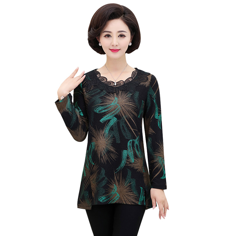 Lace O-Neck Long Sleeves T-shirt Top Spring Autumn New Middle Age Women Bottoming Shirt Printed Plus Size Mother Casual Pullover